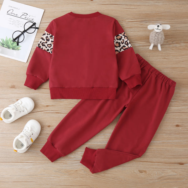Unisex Long Sleeve Leopard Casual Top & Pants Children Clothes Wholesale