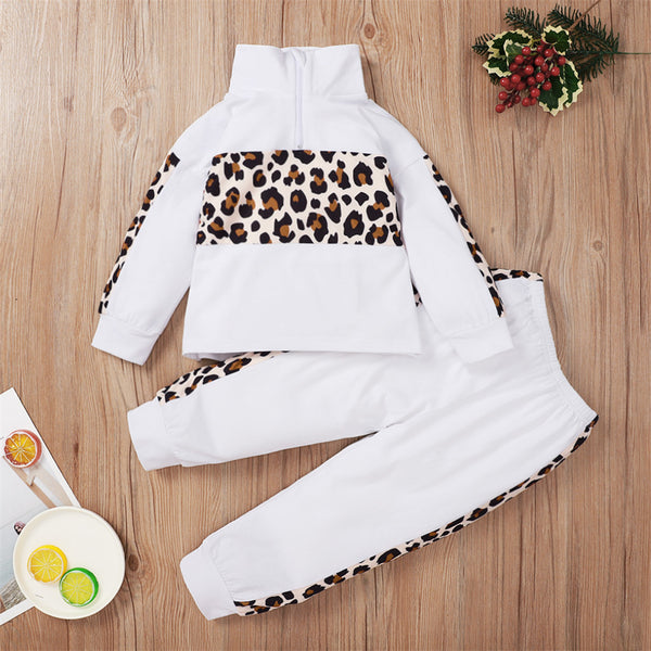 Girls Long Sleeve Leopard Printed Long Sleeve Turtleneck Top & Pants Wholesale Girl Clothing