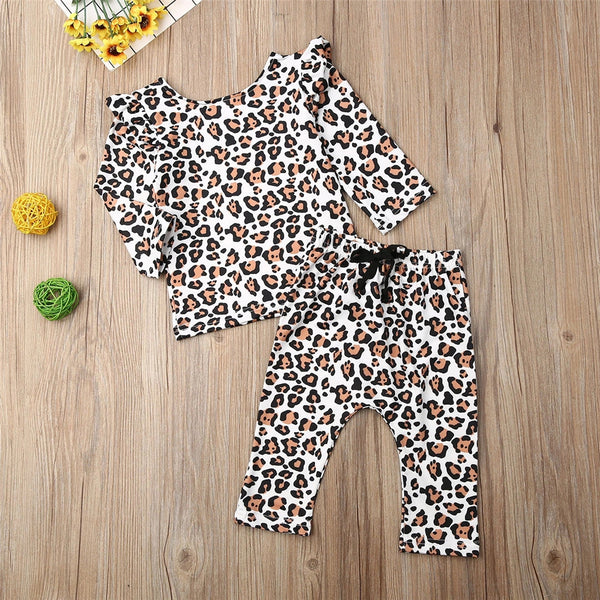 Baby Girl Long Sleeve Leopard Printed Top & Pants Baby Wholesale Clothing