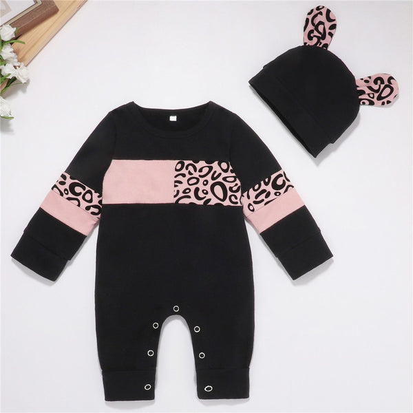 Baby Girls Long Sleeve Leopard Romper & Hat Baby Clothes Wholesale Bulk