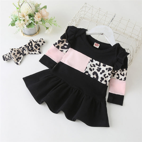 Baby Girls Long Sleeve Leopard Splicing Princess Dress Baby Wholesale