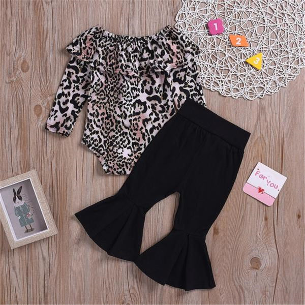 Baby Girls Long Sleeve Leopard Top & Flare Trousers