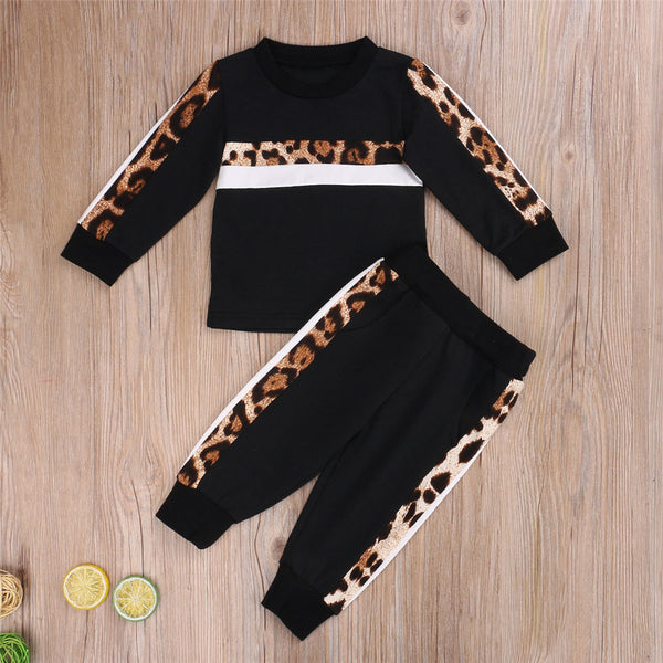 Toddler Girls Long Sleeve Leopard Top & Pants Girls Wholesale Clothing