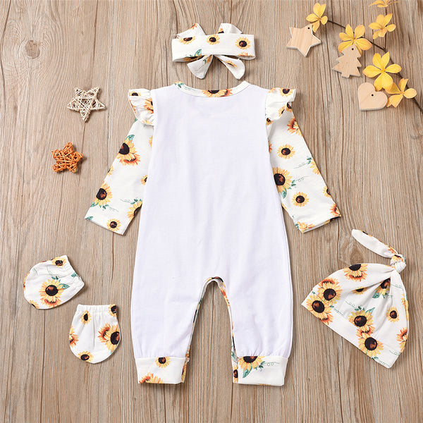 Baby Girls Long Sleeve Letter Floral Printed Romper & Hat & Headband & Gloves Wholesale Designer Baby Clothes