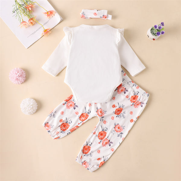 Baby Girls Long Sleeve Letter Printed Romper & Floral Pants & Headband Bulk Baby Clothes Online