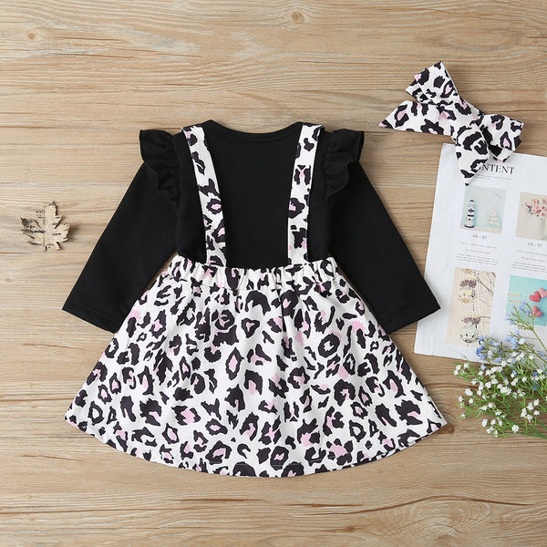 Baby Girls Long Sleeve Letter Printed Romper & Leopard Suspender Skirt & Headband Baby Rompers Wholesale