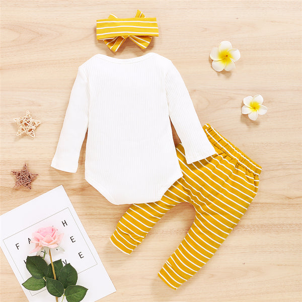 Baby Girls Long Sleeve Letter Printed Romper & Striped Pants & Headband Baby Clothes Wholesale Bulk