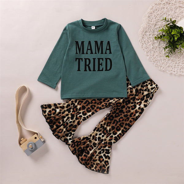Girls Long Sleeve Letter Printed Top & Leopard Bell Trousers Girls Wholesale