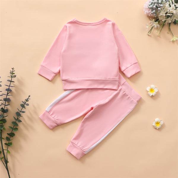 Baby Girls Long Sleeve Letter Printed Tracksuit Wholesale Baby Clothes Suppliers