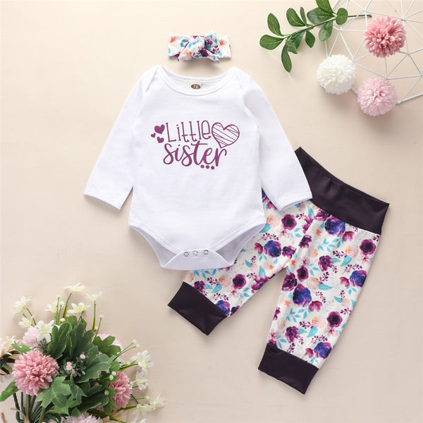 Baby Girls Long Sleeve Letter Romper & Floral Pants Baby Wholesale