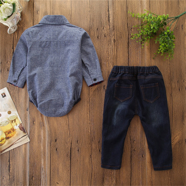Baby Boys Long Sleeve Little Gentleman Shirt & Jeans Wholesale