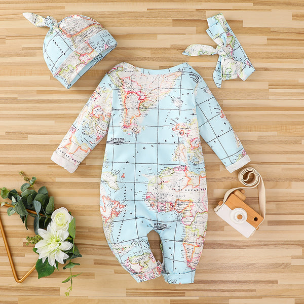 Baby Long Sleeve Map Pattern Romper & Hat & Headband Wholesale Clothing Baby
