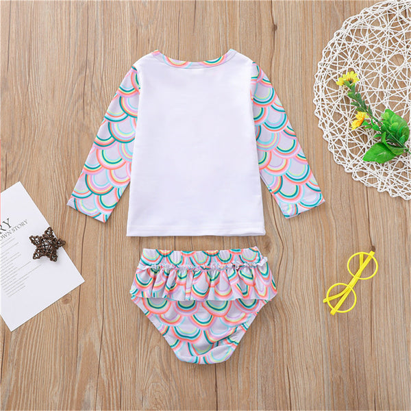 Girls Long Sleeve Mermaid Printed Top & Shorts 2 Piece Swimsuit With Shorts