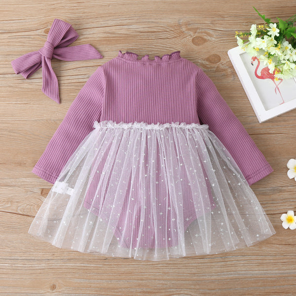 Baby Girls Long Sleeve Mesh Solid Romper Baby Wholesale Clothes