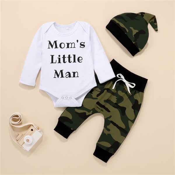 Baby Long Sleeve Mom's Little Man Romper & Camo Pants & Hat Buy Baby Clothes Wholesale