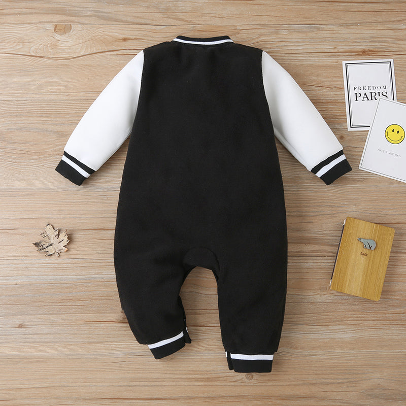 Baby Long Sleeve Number Button Romper Baby Wholesale Clothing