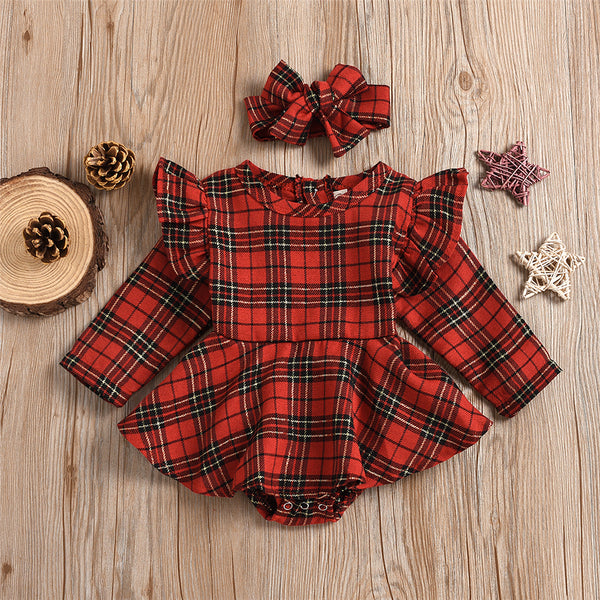 Baby Girls Long Sleeve Onesie Plaid Romper & Headband Baby Outfits