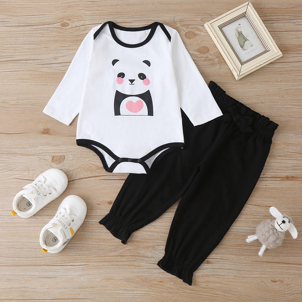 Baby Unisex Long Sleeve Panda Printed Romper & Pants wholesale baby clothes