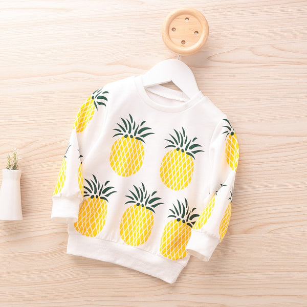 Boys Long Sleeve Pineapple Print Tops Girls Clothing Wholesale