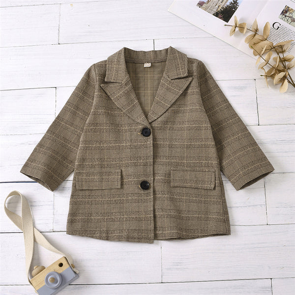 Unisex Long Sleeve Plaid Button Coat Cheap Childrens Clothes Wholesale