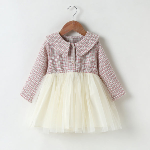 Baby Girls Long Sleeve Plaid Button Splicing Tulle Dress Baby Clothing Wholesale Distributors