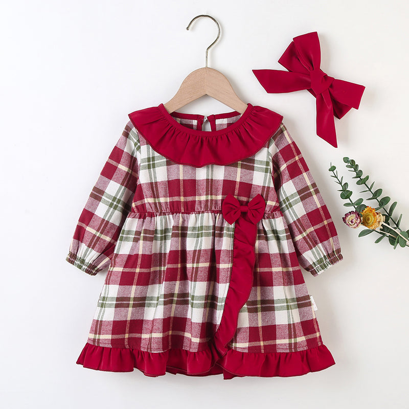 Baby Girls Long Sleeve Plaid Casual Dress & Headband Buy Baby Clothes In Bulk