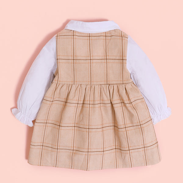 Baby Girls Long Sleeve Plaid Doll Collar Dress Buying Baby Clothes In Bulk