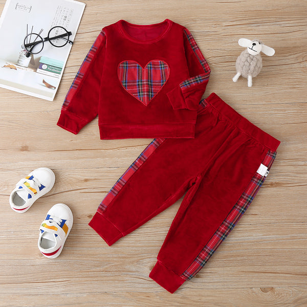 Baby Girls Long Sleeve Plaid Heart Top & Pants Baby Clothes Vendors
