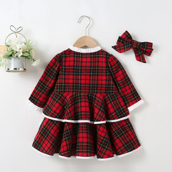 Baby Girls Long Sleeve Plaid Lovely Dresses & Headband wholesale little girl clothing