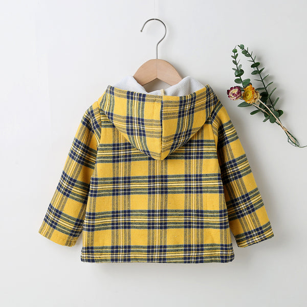 Unisex Long Sleeve Plaid Pocket Zipper Hooded Jacket Bulk Kids Clothes