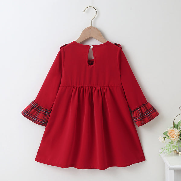 Girls Long Sleeve Plaid Princess Dress kids wholesale clothing