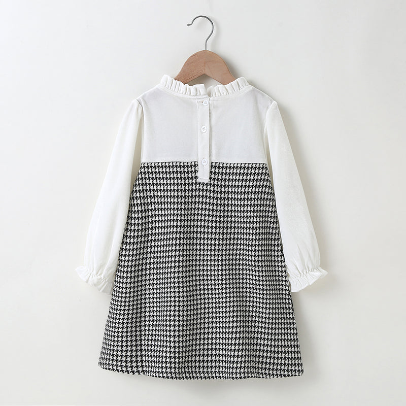 Girls Long Sleeve Plaid Splicing Dress Trendy Kids Wholesale Clothing