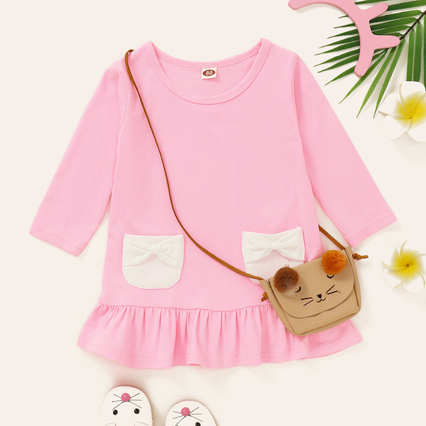 Baby Girls Long Sleeve Pocket Decor Casual Dress Buy Baby Clothes In Bulk