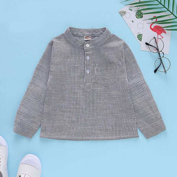 Boys Long Sleeve Pocket Striped Cotton Button Shirt Boy Wholesale Clothing
