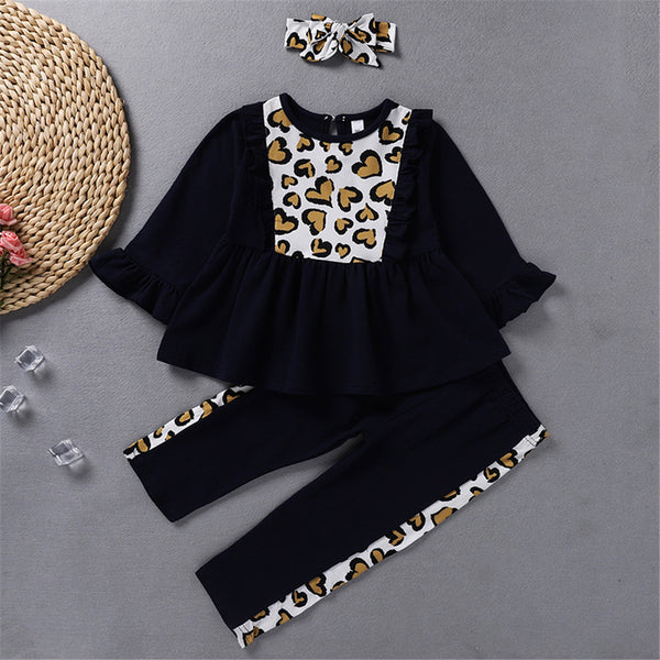 Toddler Girls Long Sleeve Print Top & Pants & Headband Wholesale Girls