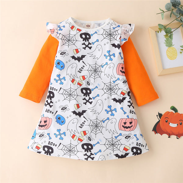 Girls Long Sleeve Printed Halloween Dress Baby Girl Clothes Wholesale