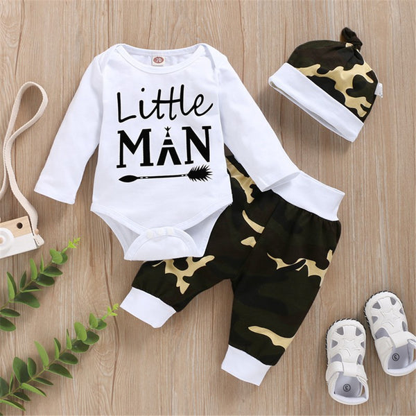 Little Man Long Sleeve Romper & Camo Pants & Hat Cheap Baby Clothes In Bulk