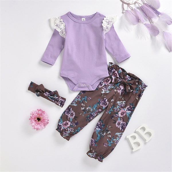 Babby Girls Long Sleeve Romper & Floral Pants Wholesale Baby Cloths