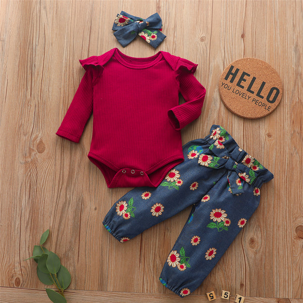 Baby Girls Long Sleeve Romper& Floral Pants & Headband Baby Wholesale
