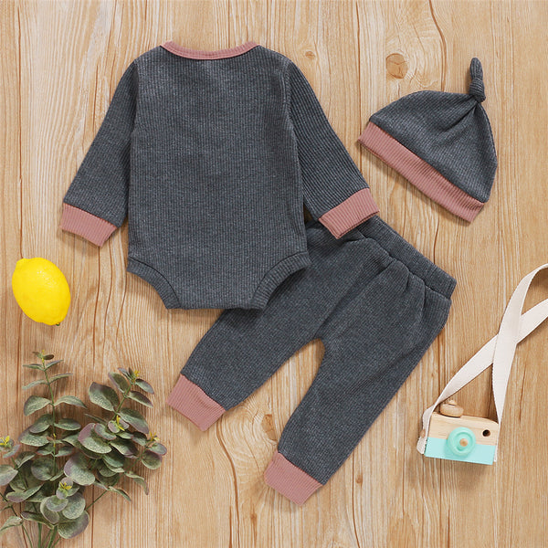 Baby Boys Long Sleeve Romper & Pants & Hat Baby Wholesale Clothes