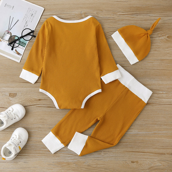 Baby Boys Long Sleeve Romper & Pants & Hat Buying Baby Clothes In Bulk