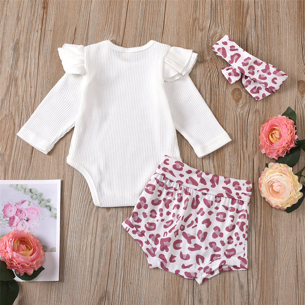 Baby Girls Long Sleeve Romper & Shorts & Headband Babywear Wholesale