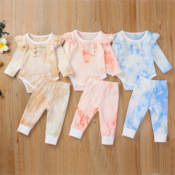 Baby Girls Long Sleeve Ruffle Tie Dye Tops & Pants