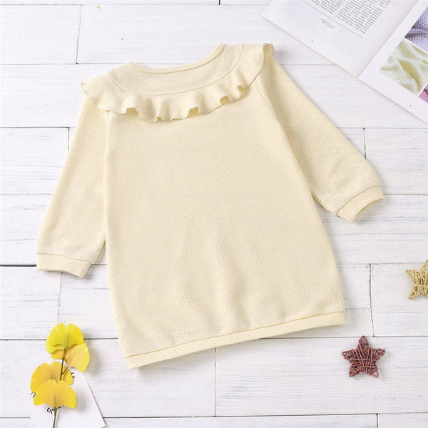 Girls Long Sleeve Ruffled Collar Solid Color Dress Wholesale Girls