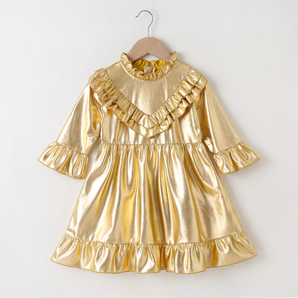 Girls Long Sleeve Ruffled Golden Pleated Solid Dress Girls Clothes Wholesale