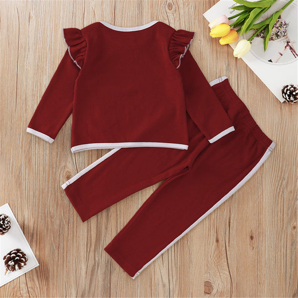 Baby Girls Long Sleeve Ruffled Top & Trousers Baby Wholesale Clothing