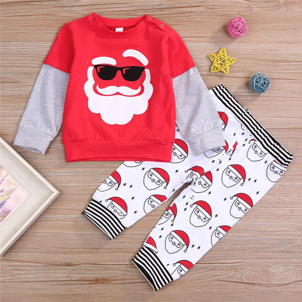 Boys Long Sleeve Santa Claus Top & Trousers Wholesale Toddler Boy Clothing