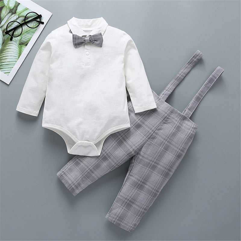 Baby Boys Long Sleeve Shirt & Plaid Rompers