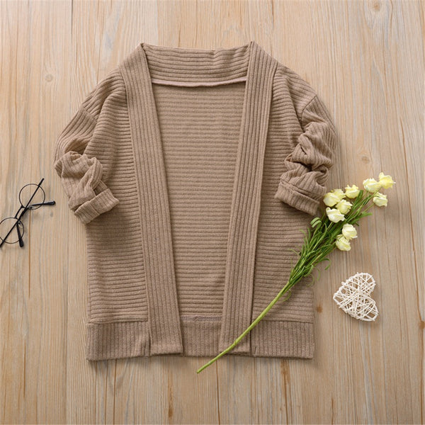 Girls Long Sleeve Solid Cardigan Jackets Wholesale Girls Clothing