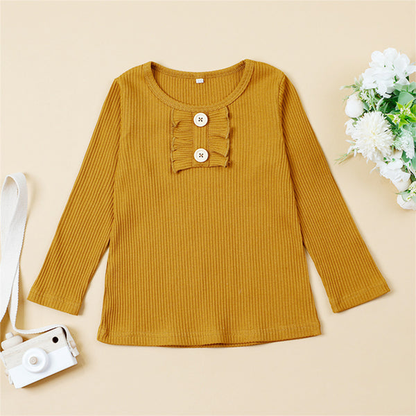Girls Long Sleeve Solid Casual T-shirt Girls Clothing Wholesale